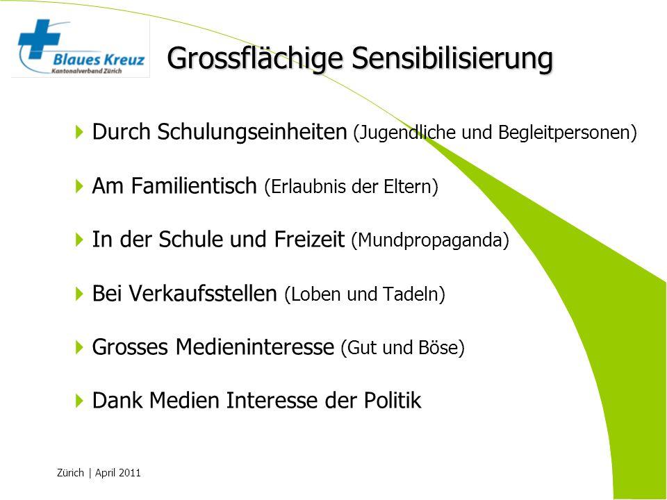 Zürich | April 2011 Durch Schulungseinheiten (Jugendliche und Begleitpersonen) Am Familientisch (Erlaubnis der Eltern) In der Schule und Freizeit (Mun