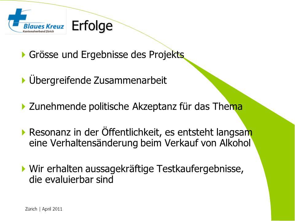 Zürich | April 2011 Grösse und Ergebnisse des Projekts Übergreifende Zusammenarbeit Zunehmende politische Akzeptanz für das Thema Resonanz in der Öffe