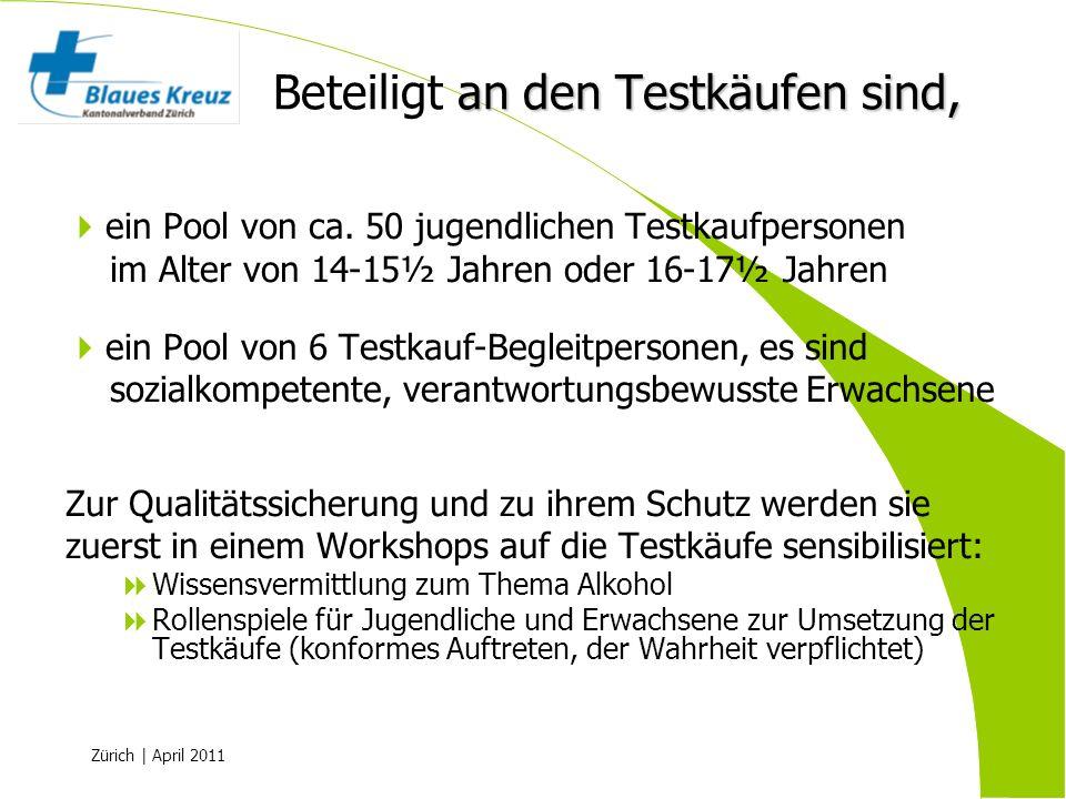 Zürich | April 2011 ein Pool von ca. 50 jugendlichen Testkaufpersonen im Alter von 14-15½ Jahren oder 16-17½ Jahren ein Pool von 6 Testkauf-Begleitper