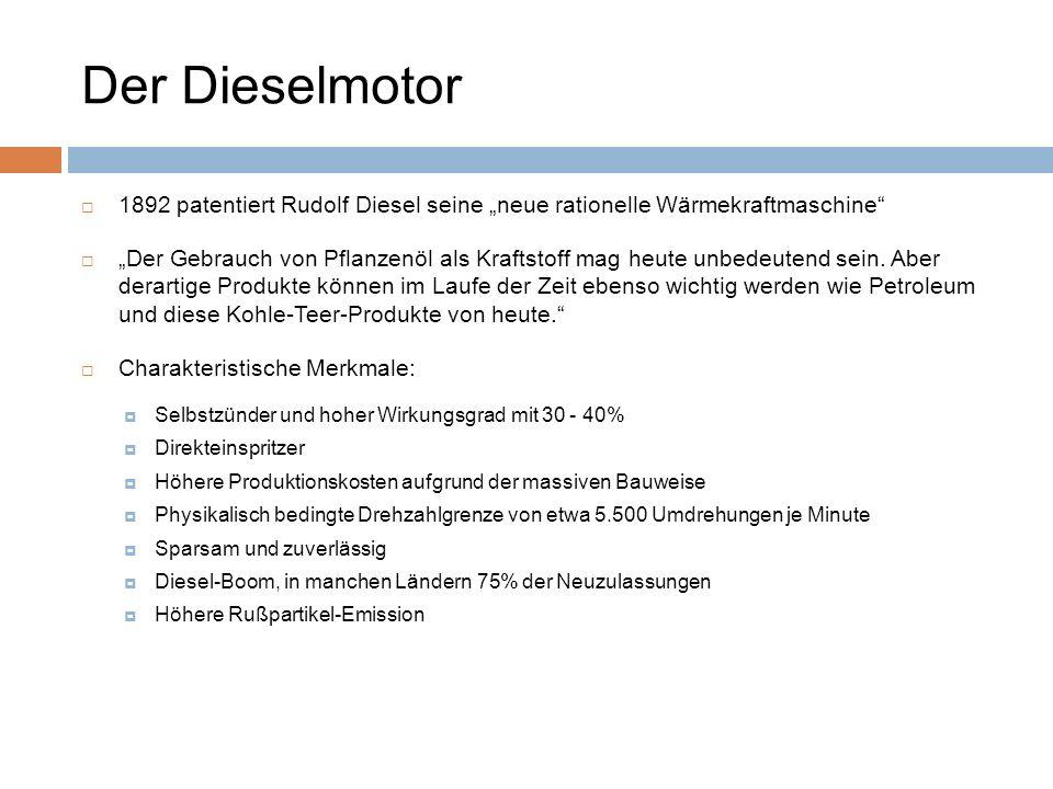 Der Dieselmotor 1892 patentiert Rudolf Diesel seine neue rationelle Wärmekraftmaschine Der Gebrauch von Pflanzenöl als Kraftstoff mag heute unbedeuten