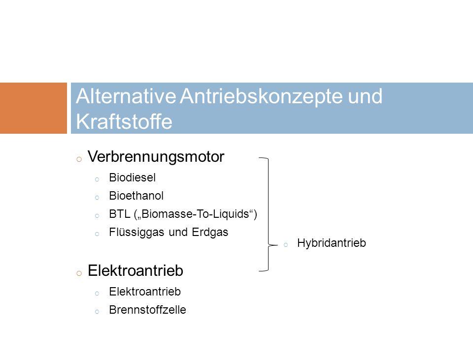 o Verbrennungsmotor o Biodiesel o Bioethanol o BTL (Biomasse-To-Liquids) o Flüssiggas und Erdgas o Elektroantrieb o Brennstoffzelle Alternative Antrie