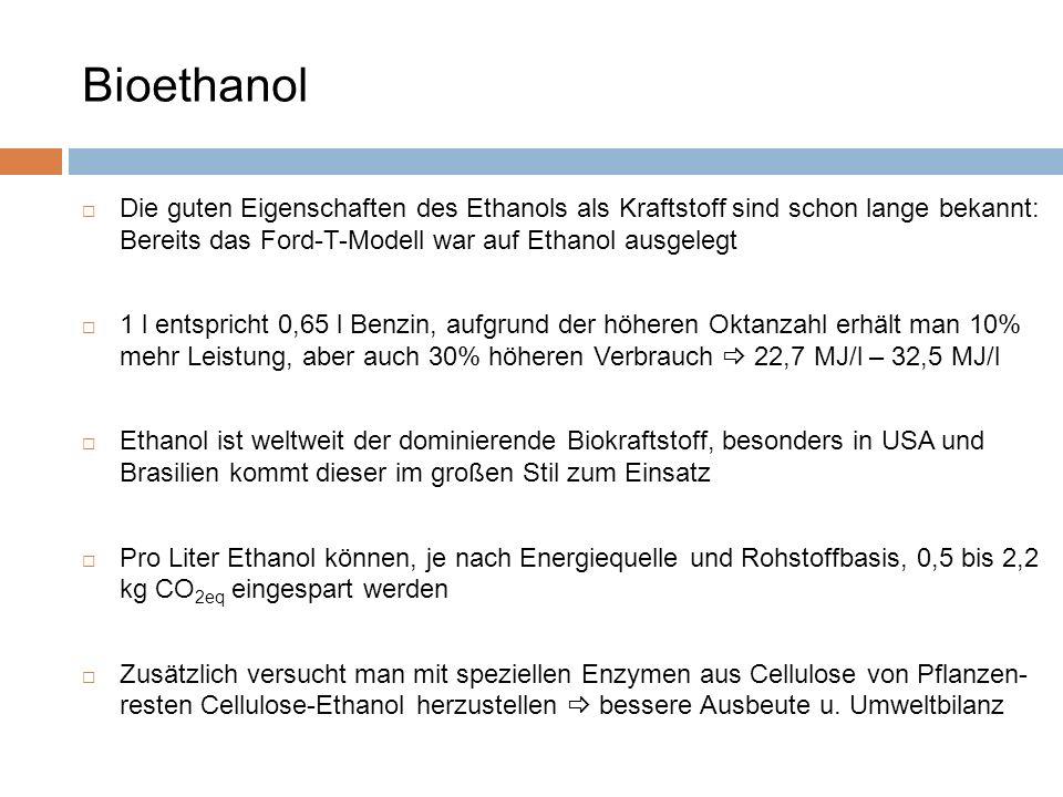 Die guten Eigenschaften des Ethanols als Kraftstoff sind schon lange bekannt: Bereits das Ford-T-Modell war auf Ethanol ausgelegt 1 l entspricht 0,65