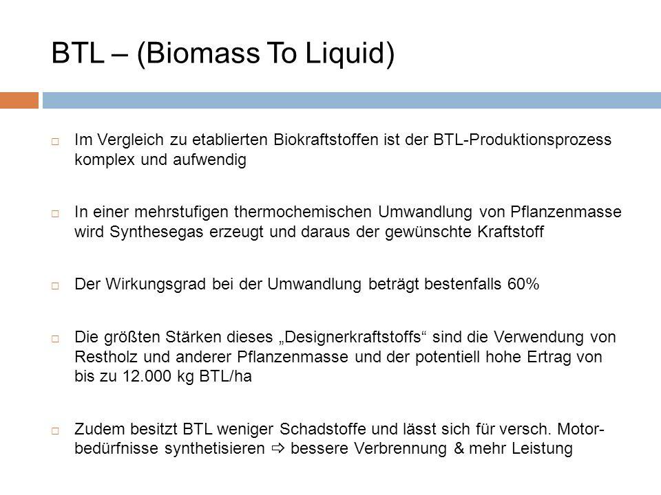 BTL – (Biomass To Liquid) Im Vergleich zu etablierten Biokraftstoffen ist der BTL-Produktionsprozess komplex und aufwendig In einer mehrstufigen therm