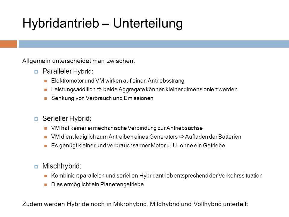 Hybridantrieb – Unterteilung Allgemein unterscheidet man zwischen: Paralleler Hybrid: Elektromotor und VM wirken auf einen Antriebsstrang Leistungsadd