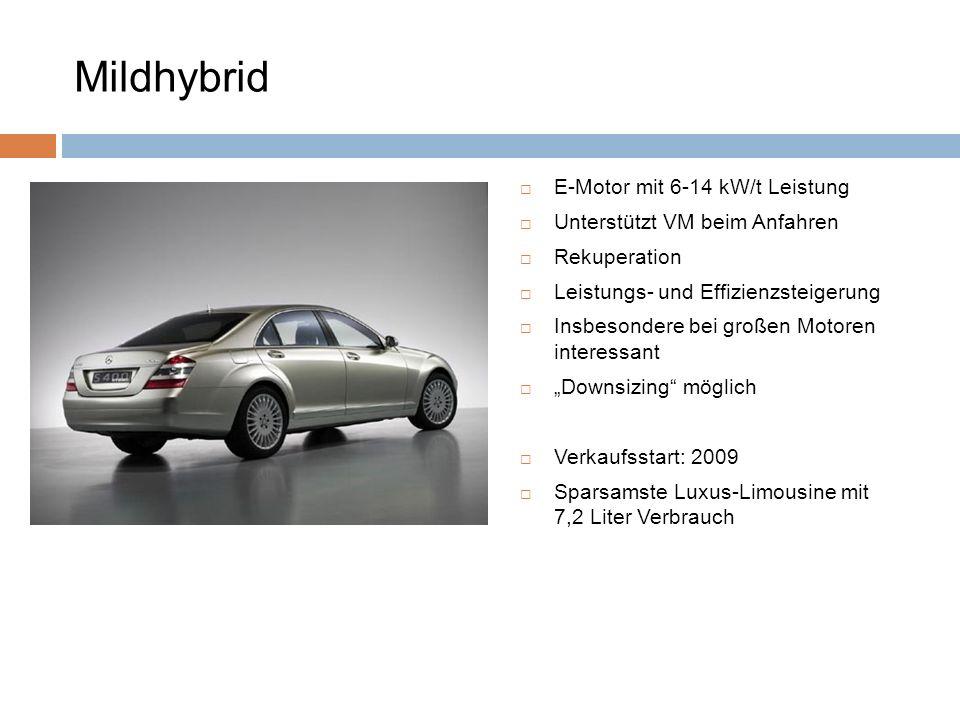 Mildhybrid E-Motor mit 6-14 kW/t Leistung Unterstützt VM beim Anfahren Rekuperation Leistungs- und Effizienzsteigerung Insbesondere bei großen Motoren