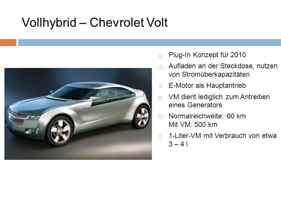 Plug-In Konzept für 2010 Aufladen an der Steckdose, nutzen von Stromüberkapazitäten E-Motor als Hauptantrieb VM dient lediglich zum Antreiben eines Ge