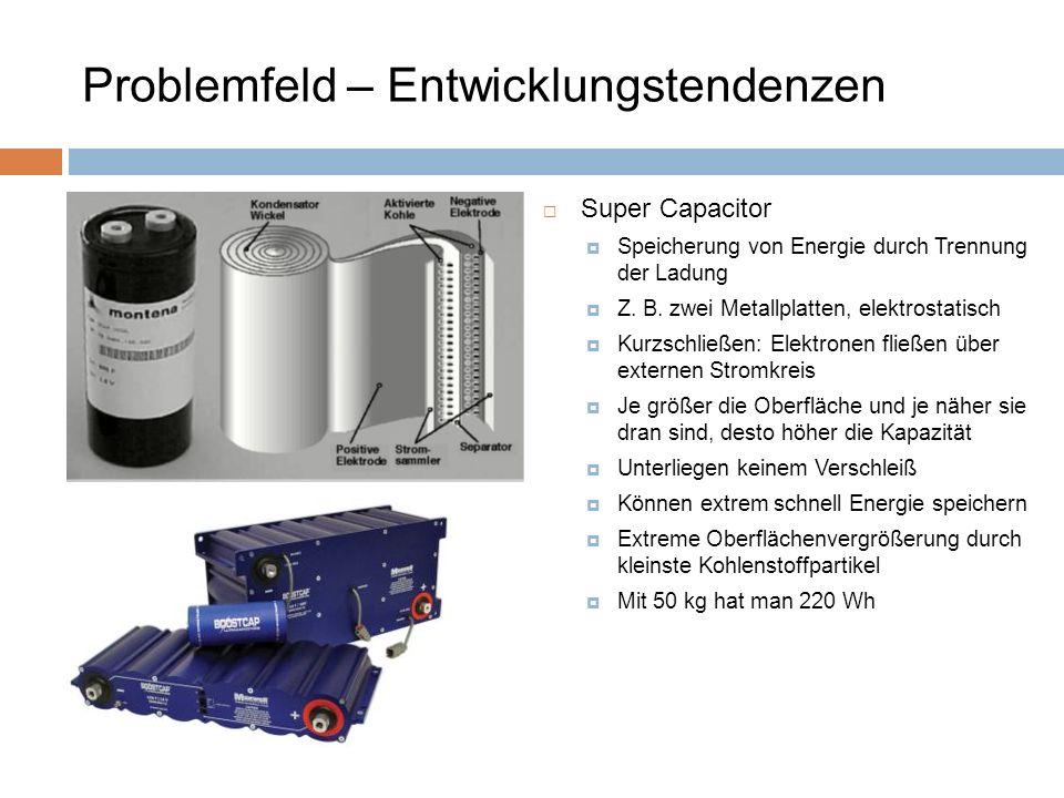 Super Capacitor Speicherung von Energie durch Trennung der Ladung Z. B. zwei Metallplatten, elektrostatisch Kurzschließen: Elektronen fließen über ext