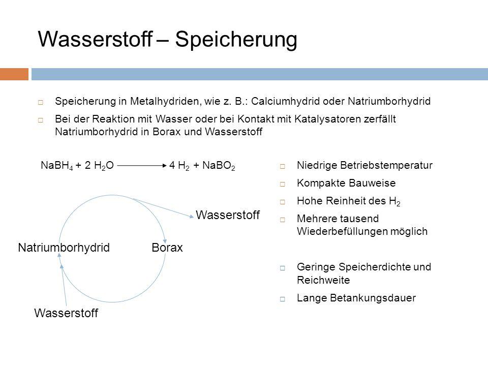 Speicherung in Metalhydriden, wie z. B.: Calciumhydrid oder Natriumborhydrid Bei der Reaktion mit Wasser oder bei Kontakt mit Katalysatoren zerfällt N