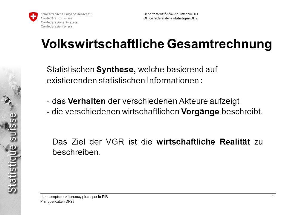3 Les comptes nationaux, plus que le PIB Philippe Küttel (OFS) Département fédéral de lintérieur DFI Office fédéral de la statistique OFS Das Ziel der VGR ist die wirtschaftliche Realität zu beschreiben.