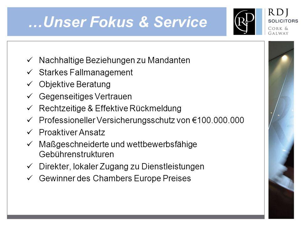 …Unser Fokus & Service Nachhaltige Beziehungen zu Mandanten Starkes Fallmanagement Objektive Beratung Gegenseitiges Vertrauen Rechtzeitige & Effektive