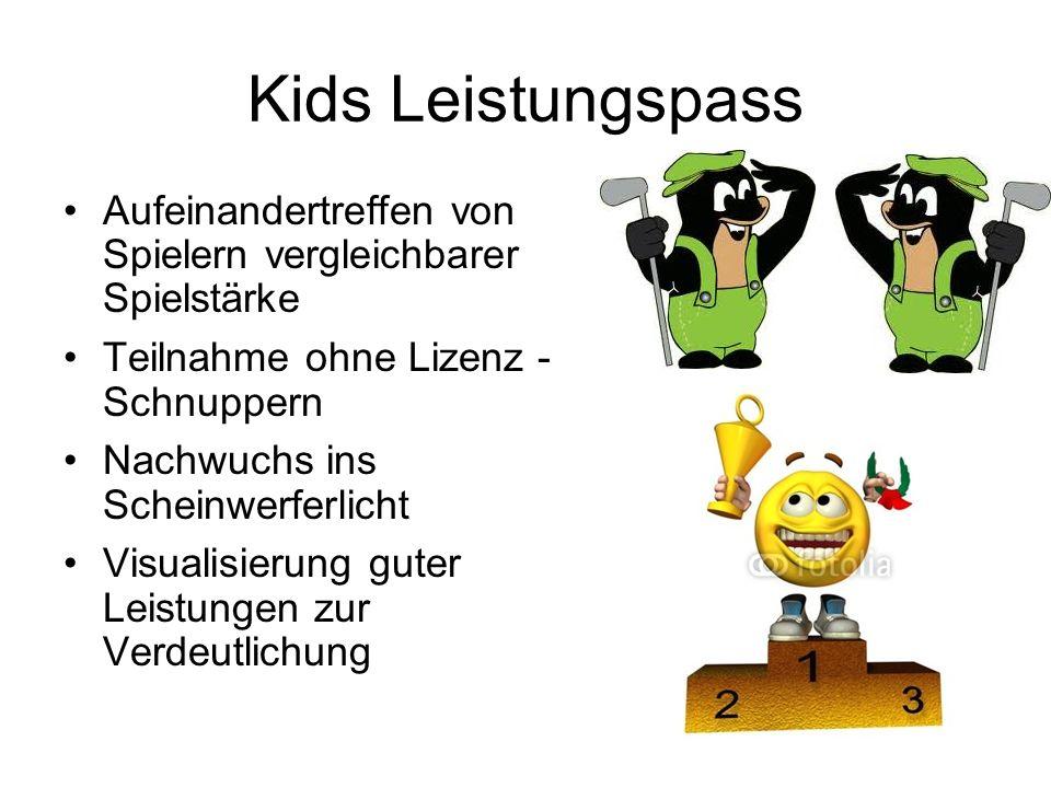 Kids Leistungspass Aufeinandertreffen von Spielern vergleichbarer Spielstärke Teilnahme ohne Lizenz - Schnuppern Nachwuchs ins Scheinwerferlicht Visualisierung guter Leistungen zur Verdeutlichung