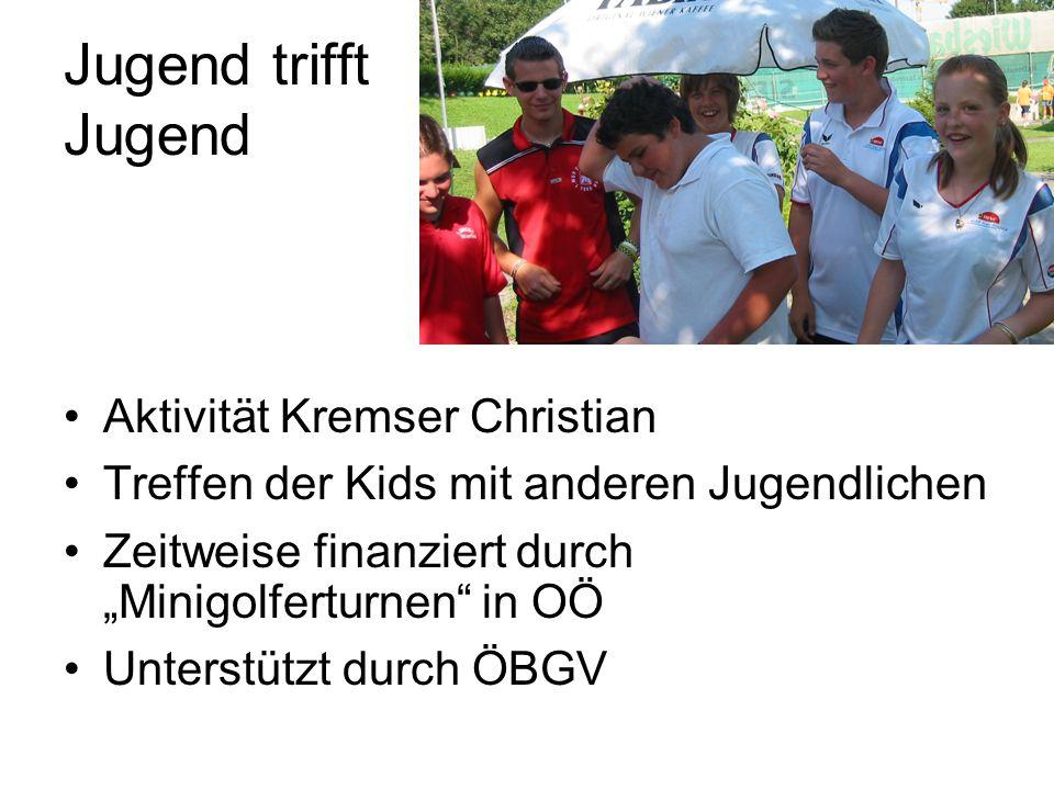 Jugend trifft Jugend Aktivität Kremser Christian Treffen der Kids mit anderen Jugendlichen Zeitweise finanziert durch Minigolferturnen in OÖ Unterstützt durch ÖBGV