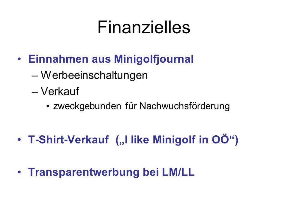 Finanzielles Einnahmen aus Minigolfjournal –Werbeeinschaltungen –Verkauf zweckgebunden für Nachwuchsförderung T-Shirt-Verkauf (I like Minigolf in OÖ) Transparentwerbung bei LM/LL