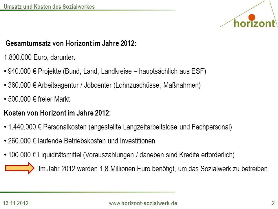 Gesamtumsatz von Horizont im Jahre 2012: 1.800.000 Euro, darunter: 940.000 Projekte (Bund, Land, Landkreise – hauptsächlich aus ESF) 360.000 Arbeitsag