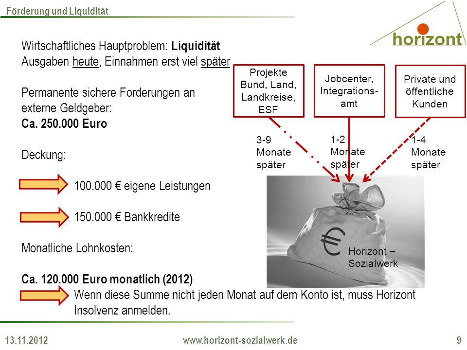 13.11.2012 www.horizont-sozialwerk.de 9 Förderung und Liquidität Projekte Bund, Land, Landkreise, ESF Jobcenter, Integrations- amt Private und öffentl