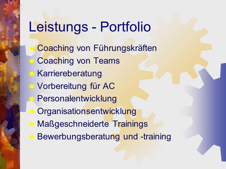 Leistungs - Portfolio Coaching von Führungskräften Coaching von Teams Karriereberatung Vorbereitung für AC Personalentwicklung Organisationsentwicklun