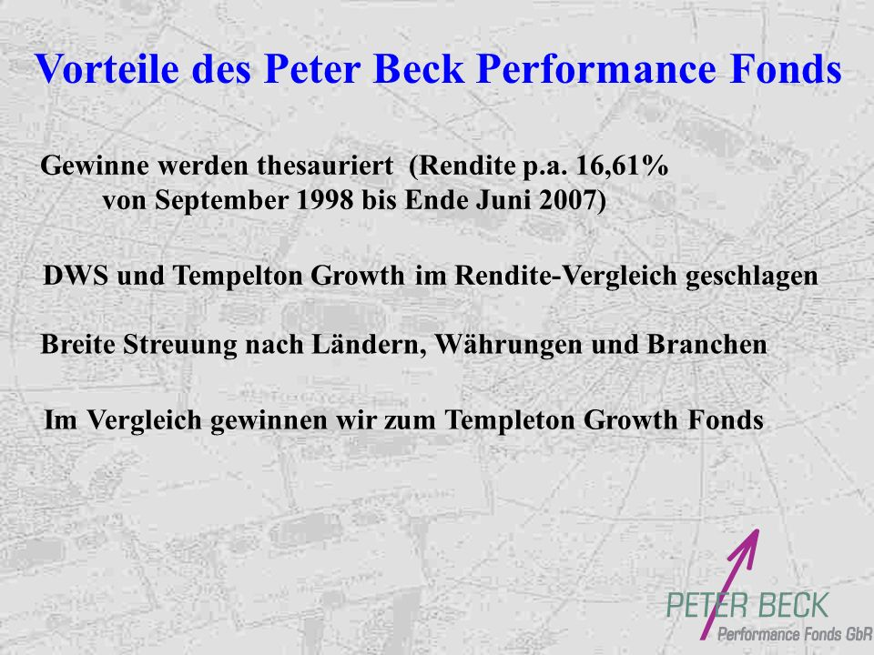 Peter Beck Performance Fonds Mindesteinlage: 5000,- / alternativ Sparplan mtl., viertelj., halbj.