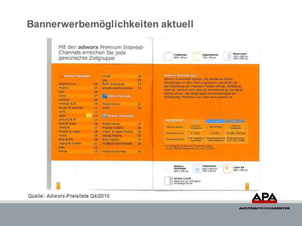 Bannerwerbemöglichkeiten aktuell Quelle: Adworx-Preisliste Q4/2010