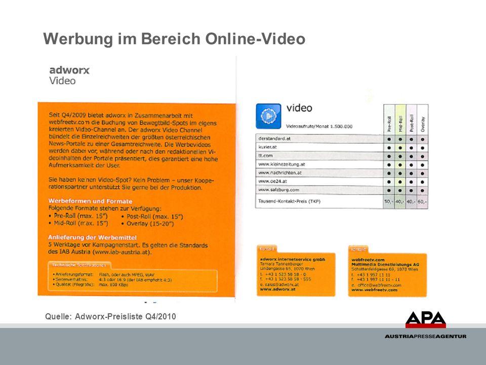Werbung im Bereich Online-Video Quelle: Adworx-Preisliste Q4/2010