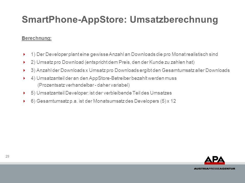 SmartPhone-AppStore: Umsatzberechnung 29 Berechnung: 1) Der Developer plant eine gewisse Anzahl an Downloads die pro Monat realistisch sind 2) Umsatz pro Download (entspricht dem Preis, den der Kunde zu zahlen hat) 3) Anzahl der Downloads x Umsatz pro Downloads ergibt den Gesamtumsatz aller Downloads 4) Umsatzanteil der an den AppStore-Betreiber bezahlt werden muss (Prozentsatz verhandelbar - daher variabel) 5) Umsatzanteil Developer: ist der verbleibende Teil des Umsatzes 6) Gesamtumsatz p.a.