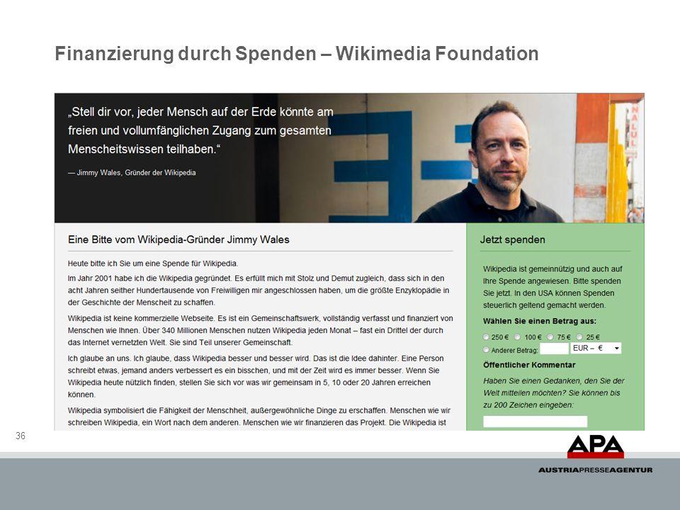 Finanzierung durch Spenden – Wikimedia Foundation 36