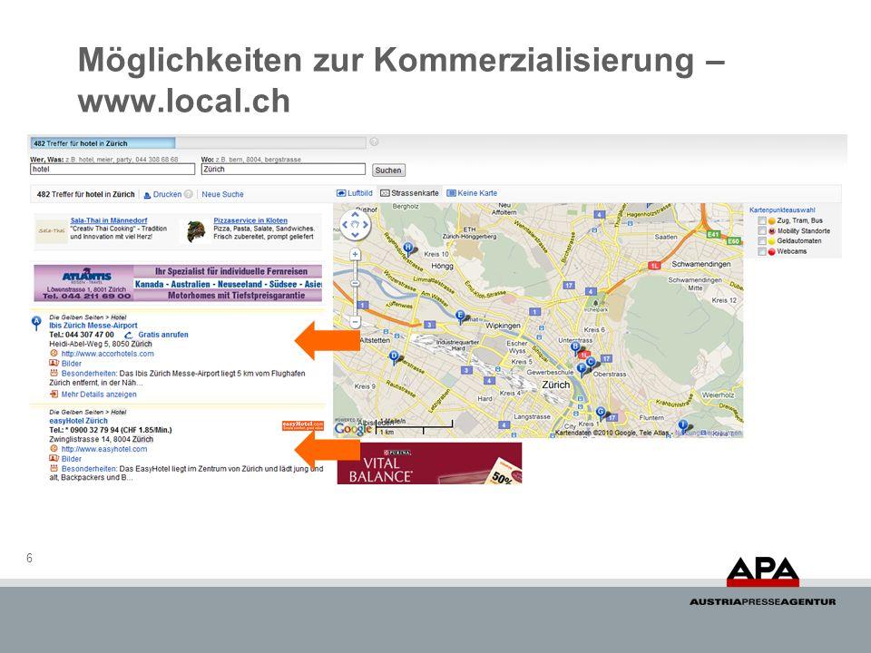 6 Möglichkeiten zur Kommerzialisierung – www.local.ch
