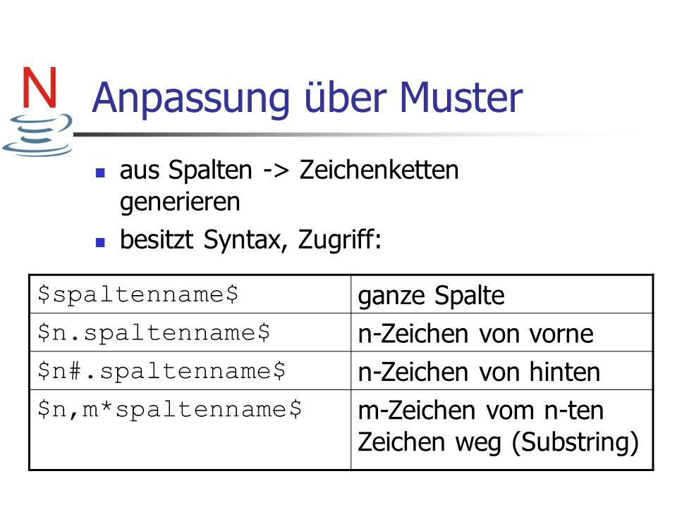 Anpassung über Muster aus Spalten -> Zeichenketten generieren besitzt Syntax, Zugriff: $spaltenname$ ganze Spalte $n.spaltenname$ n-Zeichen von vorne