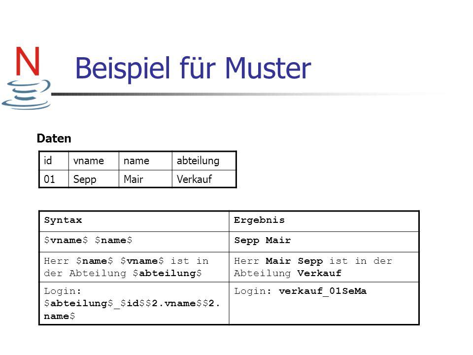 Beispiel für Muster idvnamenameabteilung 01SeppMairVerkauf Daten SyntaxErgebnis $vname$ $name$Sepp Mair Herr $name$ $vname$ ist in der Abteilung $abte