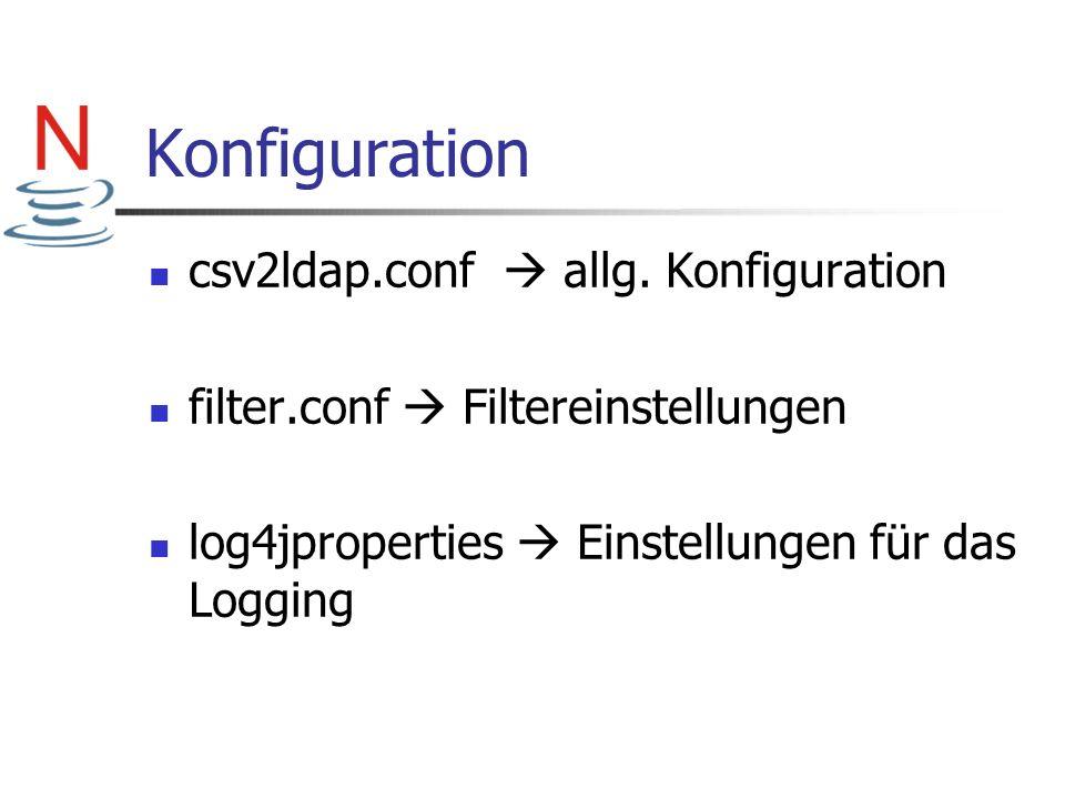 Konfiguration csv2ldap.conf allg. Konfiguration filter.conf Filtereinstellungen log4jproperties Einstellungen für das Logging