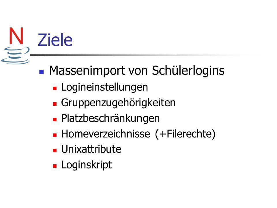 Ziele Massenimport von Schülerlogins Logineinstellungen Gruppenzugehörigkeiten Platzbeschränkungen Homeverzeichnisse (+Filerechte) Unixattribute Login