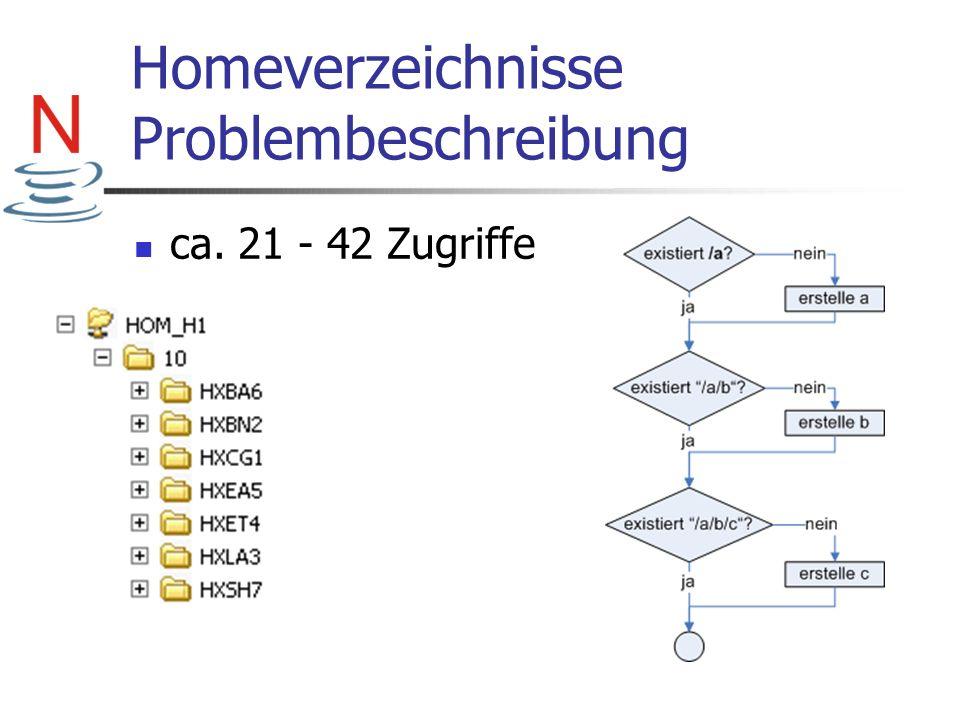 Homeverzeichnisse Problembeschreibung ca. 21 - 42 Zugriffe