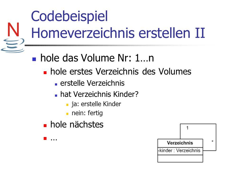 Codebeispiel Homeverzeichnis erstellen II hole das Volume Nr: 1…n hole erstes Verzeichnis des Volumes erstelle Verzeichnis hat Verzeichnis Kinder? ja: