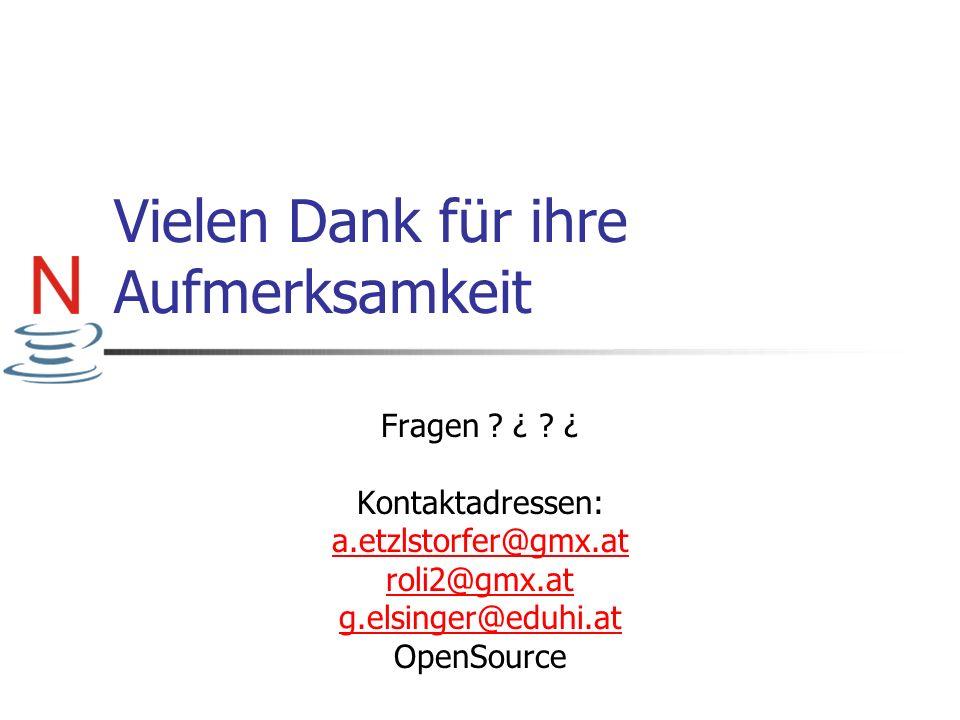Vielen Dank für ihre Aufmerksamkeit Fragen ? ¿ ? ¿ Kontaktadressen: a.etzlstorfer@gmx.at roli2@gmx.at g.elsinger@eduhi.at OpenSource