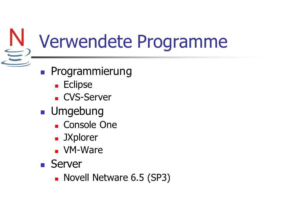 Verwendete Programme Programmierung Eclipse CVS-Server Umgebung Console One JXplorer VM-Ware Server Novell Netware 6.5 (SP3)
