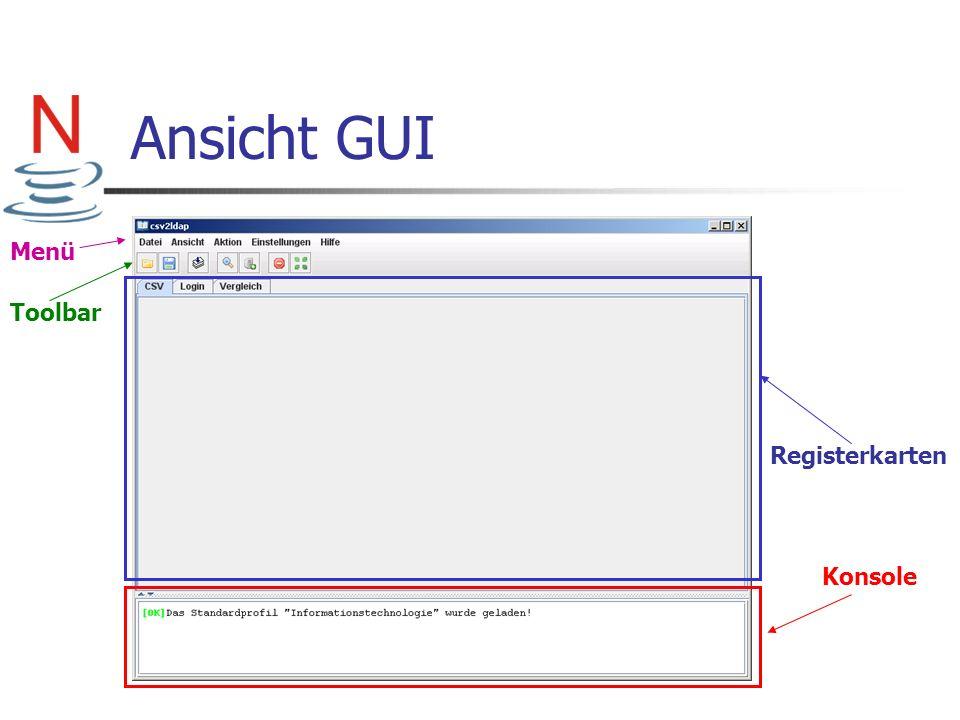Ansicht GUI Konsole Registerkarten Toolbar Menü