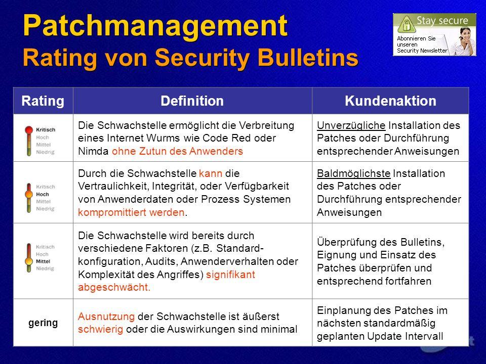 Patchmanagement Rating von Security Bulletins RatingDefinitionKundenaktion Die Schwachstelle ermöglicht die Verbreitung eines Internet Wurms wie Code