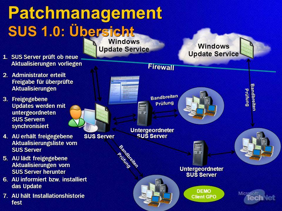 Patchmanagement SUS 1.0: Übersicht Firewall Untergeordneter SUS Server Bandbreiten Prüfung Windows Update Service Bandbreiten Prüfung 2.Administrator