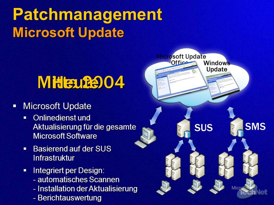 Office Update SMS Windows Update SUS Microsoft Update Windows Update Mitte 2004 Heute Patchmanagement Microsoft Update Microsoft Update Onlinedienst u