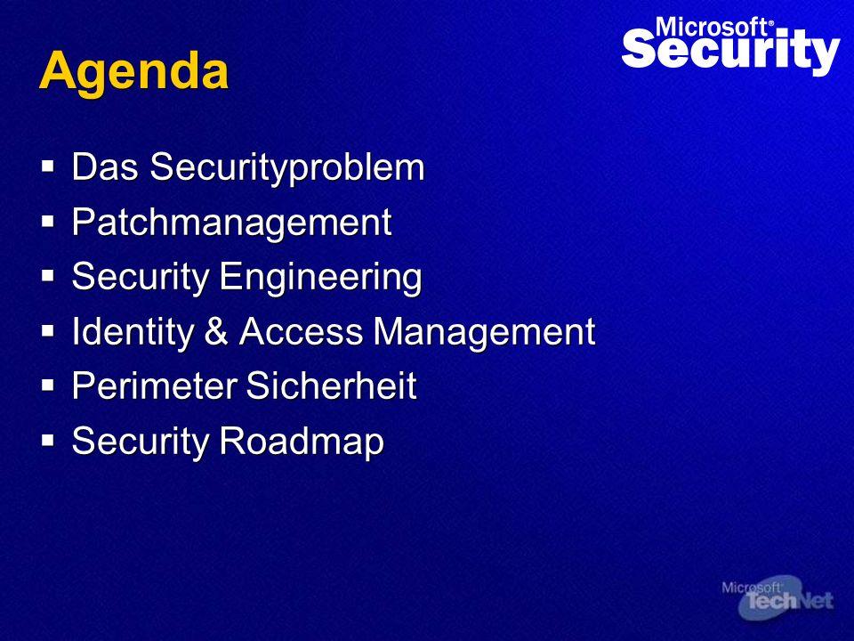 Agenda Das Securityproblem Patchmanagement Security Engineering Identity & Access Management Perimeter Sicherheit Security Roadmap Das Securityproblem