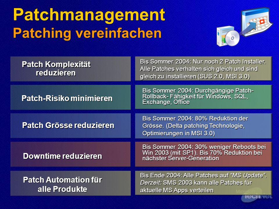 Patch Grösse reduzieren Patch Komplexität reduzieren Patch-Risiko minimieren Downtime reduzieren Bis Sommer 2004: Durchgängige Patch- Rollback- Fähigk