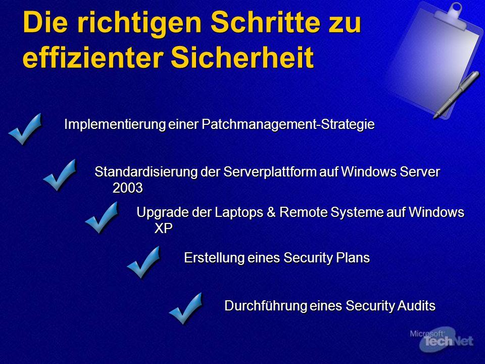 Die richtigen Schritte zu effizienter Sicherheit Implementierung einer Patchmanagement-Strategie Standardisierung der Serverplattform auf Windows Serv