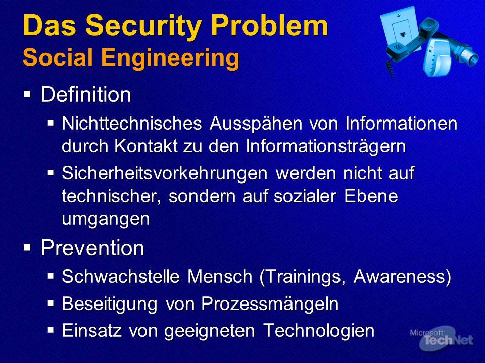 Das Security Problem Social Engineering Definition Nichttechnisches Ausspähen von Informationen durch Kontakt zu den Informationsträgern Sicherheitsvo