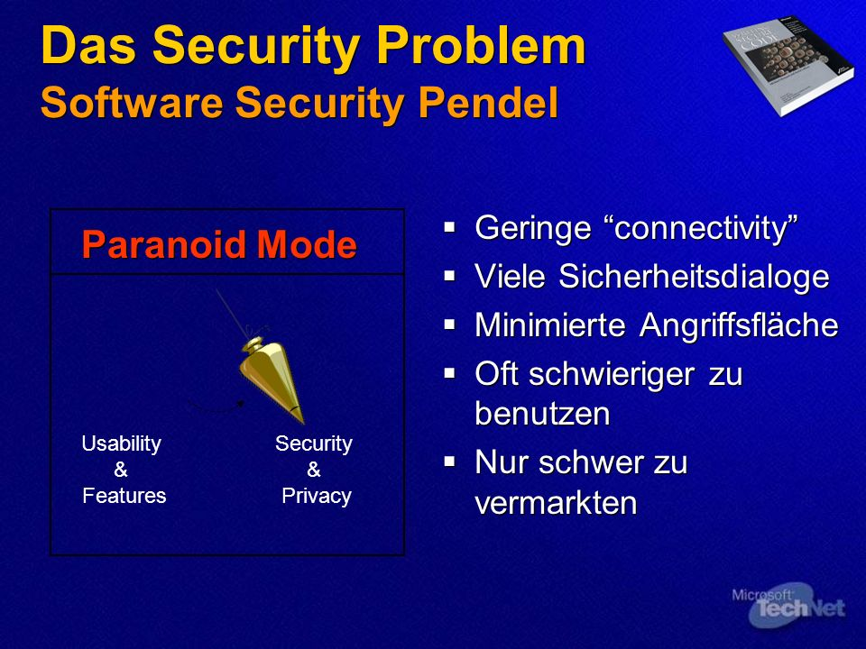 Das Security Problem Software Security Pendel Geringe connectivity Viele Sicherheitsdialoge Minimierte Angriffsfläche Oft schwieriger zu benutzen Nur schwer zu vermarkten Geringe connectivity Viele Sicherheitsdialoge Minimierte Angriffsfläche Oft schwieriger zu benutzen Nur schwer zu vermarkten Usability & Features Security & Privacy Paranoid Mode