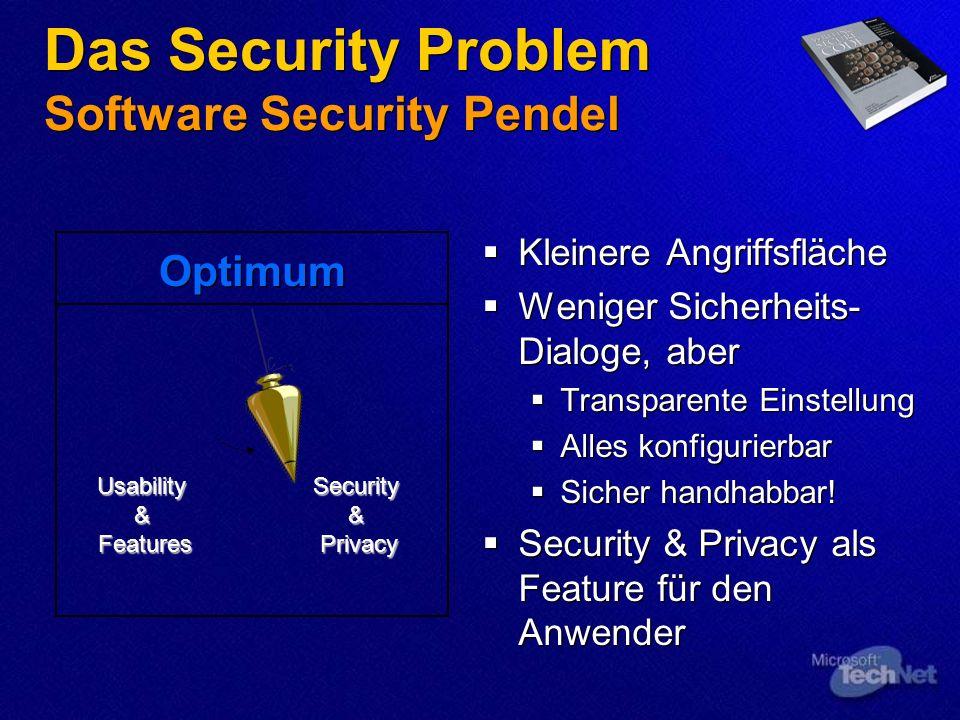 Das Security Problem Software Security Pendel Kleinere Angriffsfläche Weniger Sicherheits- Dialoge, aber Transparente Einstellung Alles konfigurierbar