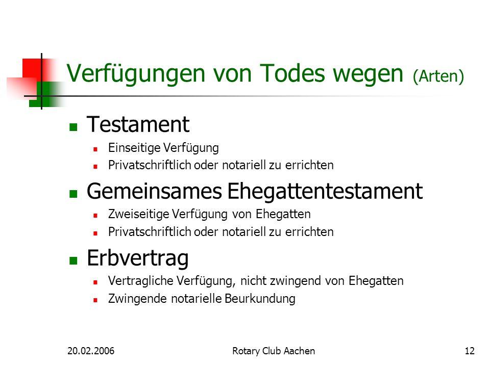 20.02.2006Rotary Club Aachen12 Verfügungen von Todes wegen (Arten) Testament Einseitige Verfügung Privatschriftlich oder notariell zu errichten Gemein
