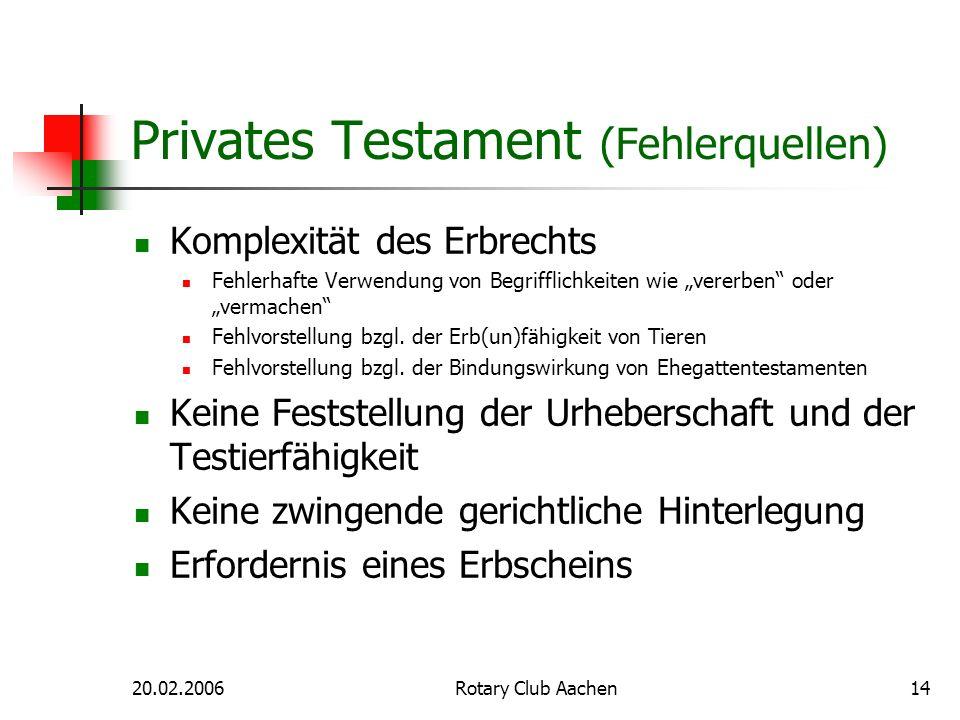 20.02.2006Rotary Club Aachen14 Privates Testament (Fehlerquellen) Komplexität des Erbrechts Fehlerhafte Verwendung von Begrifflichkeiten wie vererben