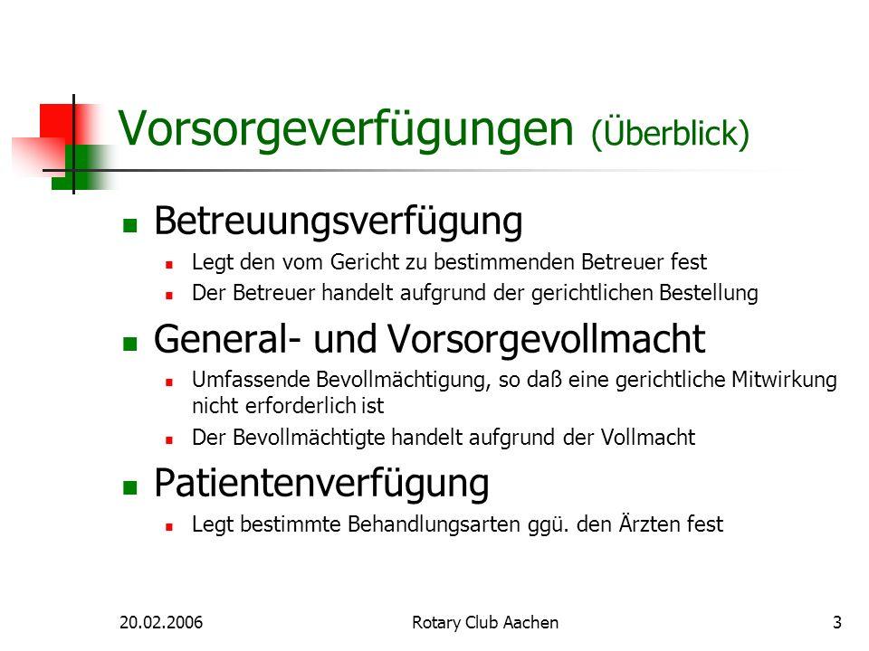 20.02.2006Rotary Club Aachen4 Vorsorgeverfügungen (Form) Form: Schriftform ausreichend Nachteile der Schriftform Nachteil 1: Zweifel bzgl.