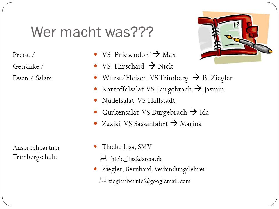 Wer macht was??? Preise / Getränke / Essen / Salate Ansprechpartner Trimbergschule VS Priesendorf Max VS Hirschaid Nick Wurst/Fleisch VS Trimberg B. Z