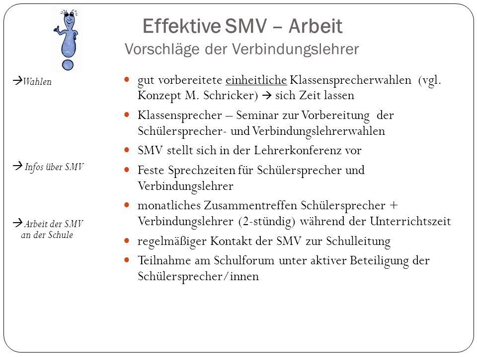 Effektive SMV – Arbeit Vorschläge der Verbindungslehrer Wahlen Infos über SMV Arbeit der SMV an der Schule gut vorbereitete einheitliche Klassensprech