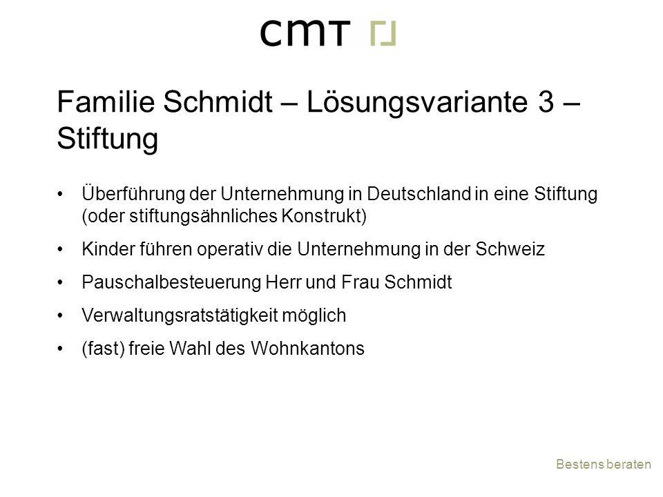 Überführung der Unternehmung in Deutschland in eine Stiftung (oder stiftungsähnliches Konstrukt) Kinder führen operativ die Unternehmung in der Schwei